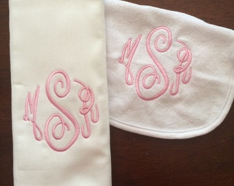 Bib and Burp Cloth Set, Monogrammed Burp Cloth and Bib, Newborn gift, Personalized Baby Gift Set