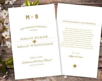 Art Deco Inspired Sunburst Wedding Ceremony Programs