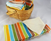 Dozen Unpaper Towels / Cloth Napkins - Organic Cotton Birdseye - Handmade, Reusable, Ecofriendly, Natural - Beach Stripes - (Ready to Ship)