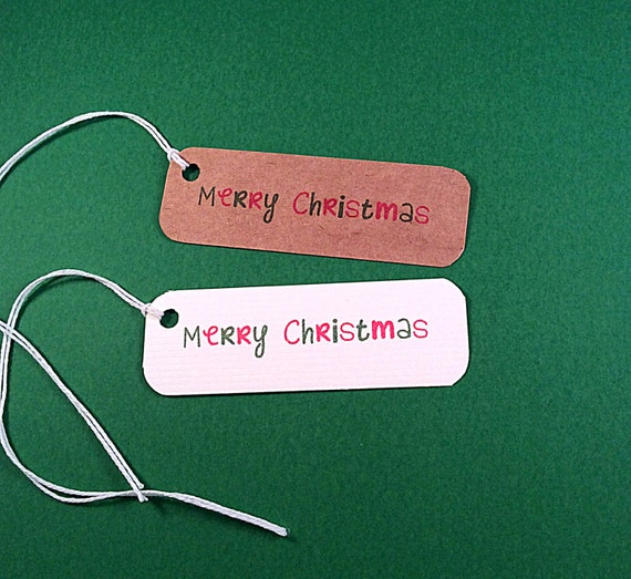 Merry Christmas tags - 25 Product Tags - Personalized Tags - 1x3 - printed tag - custom tags