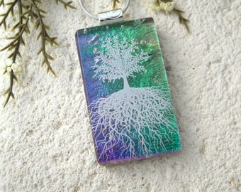 Tree of Life, Fused Glass Jewelry, Dichroic Pendant, Dichroic Jewelry, Rooted Tree, Purple Green , Nature Jewelry, Silver Chain,061216p102