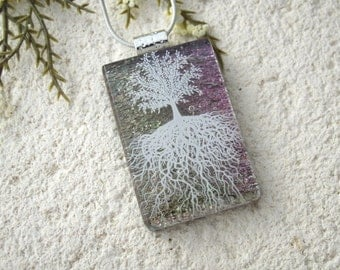 Tree of Life, Fused Glass Jewelry, Dichroic Pendant, Dichroic Jewelry, Rooted Tree,Bronze Pink Tree, Nature Jewelry, Silver Chain,061216p109