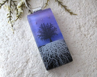 Large Tree Necklace, Fused Glass Jewelry, Rooted Tree, Tree of Life Jewelry, Glass Pendant, Necklace Included, Purple Necklace 101215p100