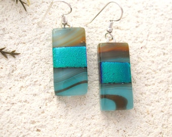 Turquoise Brown Earrings, Dichroic Glass Jewelry, Fused Glass Jewelry, Dangle Drop Earrings, Dichroic Earrings, Sterling Silver, 022916e105