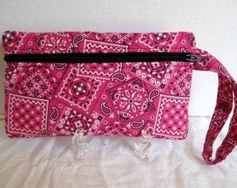Pink Bandana Wristlet - Bandana Wristlet - Wrist Style Purse - Wallet with Strap - Cell Phone Purse - Hands Free Pouch - Bandana Zip Pouch