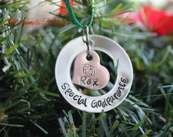 Special Godparents Godfather Godmother Godchild Personalized Custom Hand Stamped Christmas Ornament