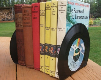 Record Bookends Book Ends for Office Desk Accessories Vintage Vinyl 45 Record  Upcycled Recycled Home Decor