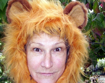 Furry Lion Hat Hood Halloween Big Cat Costume Party fur Hat King of Jungle Hood OOAK Furry Animal Beast Hood