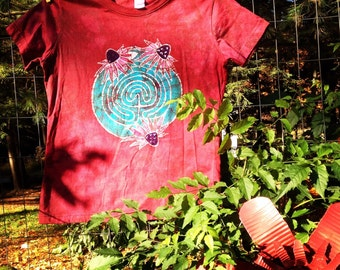 Batik Labyrinth and Coneflowers- S, M, or L