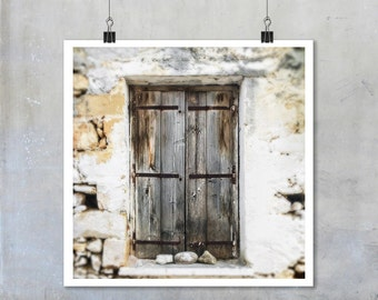 Greek Travel Photography: Brown wooden window shutters stone house in Crete - 22x22 12x12 18x18 square Fine Art Photo Print