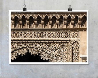 Architecture travel photography Morocco architectural decorative detail abstract pattern stone big print poster fine art wall art