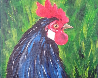"""Original 8"""" by 8"""" acrylic rooster painting by Padgett Mason 'Mr. Henrietta'"""