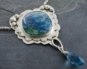 Bella Aqua Necklace - Azurite, London Quartz and Silver Pendant
