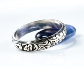 Floral Sterling Silver Band Tendril Vine Wedding Promise Ring Size 9