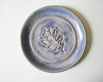 One Tea Bag Holder, Spoon Rest,  Ring Dish, Leaf stamp, Blue and Pink Glaze