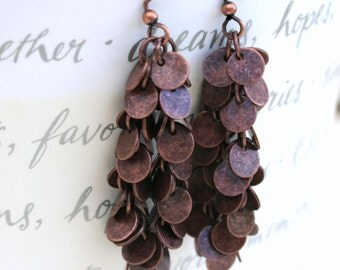 Copper disk long drop earrings