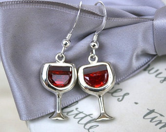 Wine glass earrings with Siam CZ accents - all Sterling Silver