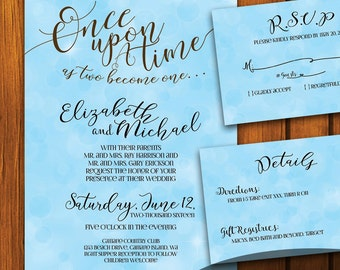 Fairytale Wedding / Vintage Wedding Suite / Blue Wedding Invitation / Fairy tale  / Blue / fairytale / Anniversary / Wedding