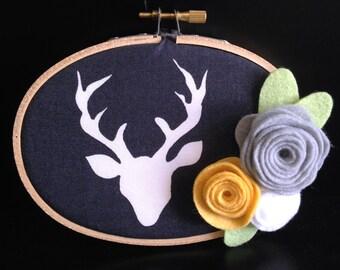 Deer with Felt Flowers Hoop Art