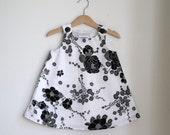 Black and White Floral Girls Dress - Elegant Simple Girls Dress Baby, Toddler, PreSchool - Sizes Newborn to Girls 6T - Christmas Dress