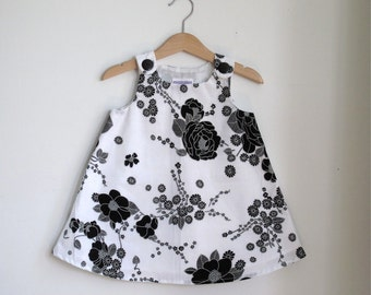 Black and White Floral Girls Dress - Elegant Simple Girls Dress Baby, Toddler, PreSchool - Sizes Newborn to Girls 6T - Christmas Dress