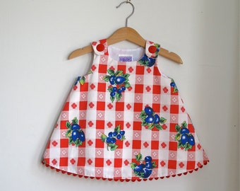 Plaid Check Picnic Baby Girls Dress | Red & White with Blueberry Brambles - Size 6 - 12 Months - Handmade Children's Fashion Rustic Country