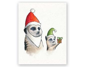 Christmas Meerkat Santa & Elf Holiday Card
