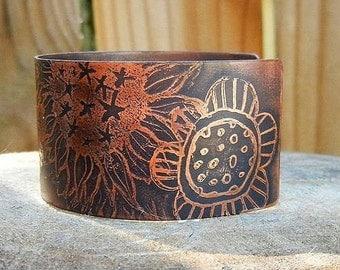 Rustic Earthy Flower Mix Cuff Bracelet Etched Copper Handmade Flower Garden Sunflower Bracelet Gypsy Boho Hippie SRA Artisan jewelry