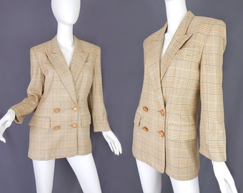 Vintage 80s Double Breasted Houndstooth Women's Blazer - Size 4 - Beige and Brown Houndstooth Checked Boyfriend Jacket