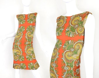 Vintage 60s Mod Paisley Sheath Dress - Size Extra Small - Bow Shoulder Orange and Green Women's Psychedelic Print Dress