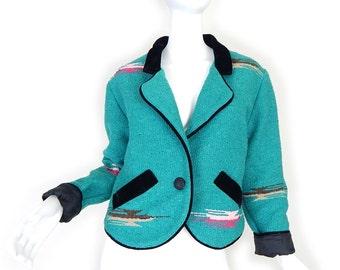 Vintage 80s Turquoise Southwestern Women's Jacket - Size Small - Aztec Print Blanket Jacket in Blue Green with Black Velvet Trim