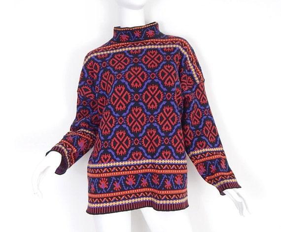 Vintage 90s Oversized Fair Isle Women's Sweater Small