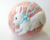 Felted Wool Easter Bunny Ball:  White Rabbit Easter Basket Toy (100% Wool, Heirloom Treasure)
