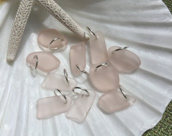 Peach sea glass charm~ beach glass charms~ sea glass jewelry ~ glass charm~ Freeform drilled glass # boho style jewelry~ beach glass earring