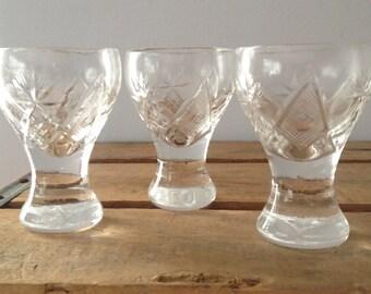Cut Glass Vintage Shot Glasses - Set of 3