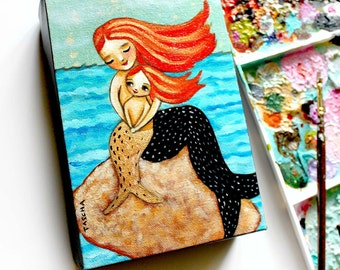 Redhead Mermaid and Baby Mermaid ORIGINAL painting one of a kind artwork acrylic painting by TASCHA