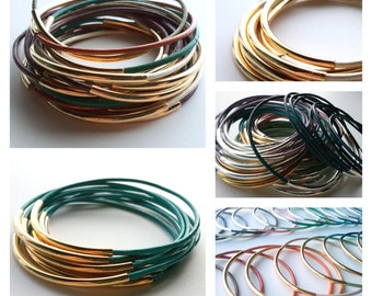Set of 9 Leather Bangle Bracelets - Leather Bangle - Custom Bangle - Bohemian Bracelet - Boho Bracelet  - Stackable Bracelets