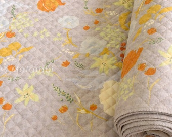 Japanese Fabric Nani Iro Fuccra : rakuen AW quilted brushed cotton - B - 50cm