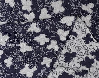 Japanese Fabric reversible double knit - ohana - navy blue, gray