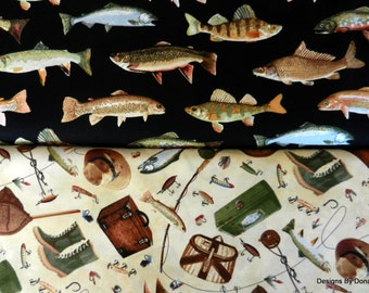 One Half Yard 2 Piece Bundle Quilt Fabric, Fish, Fishing Equipment from Timeless Treasures, Sewing-Quilting-Craft Supplies