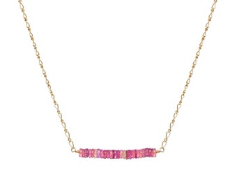 Pink Sapphire and 14k GF Bar Necklace, Gifts for Her, Bridal, September Birthstone, Mother's Day