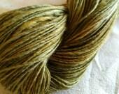 Hand spun, hand dyed, silk merino, green sock yarn