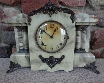 "Antique Wm. L. Gilbert Mantel Clock ""The Monitor Clock"" Original Label no Key for Restoration"