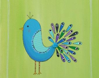 Original Peacock Painting on 12 x 12 inch canvas NURSERY ART Bird painting chidlrens room decor BABY shower gift Christmas
