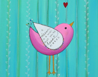 BIRD NURSERY ART Painting on 12 x 12 inch Canvas wall hanging baby shower gift teen room decor Cinderella A Dream is a Wish quote