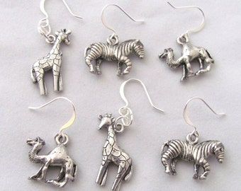 Three Pairs of Animal Earrings Giraffe Earrings Zebra Earrings Camel Earrings Set of Earrings Wild Animal Earrings Value