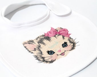 Machine Embroidery Vintage Kitty with Bow Machine Embroidery File design 4 x 4 inch hoop