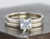 White Gold Hammered Bridal Ring Set with Square Asscher Cut White Sapphire - Sapphire Engagement Wedding Ring Set - Size 6 - READY TO SHIP