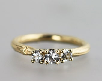 14k Yellow Gold Twig Ring - Three Stone, White Diamonds - Multi Stone Prong Setting Ring - Alternative Engagement Ring for Natural Weddings