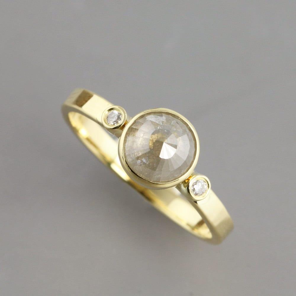 Grey Diamond Engagement Ring Gray Diamond Rose Cut Diamond